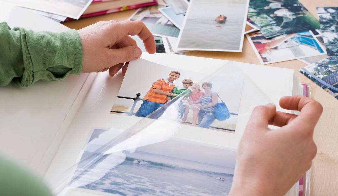 nanny creating a photo album