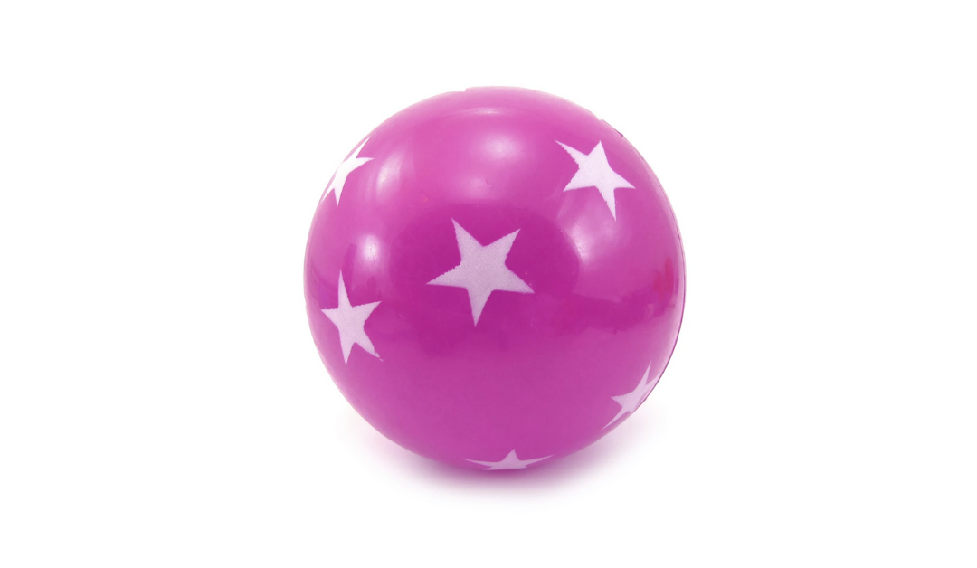 pink and purple ball with white starts
