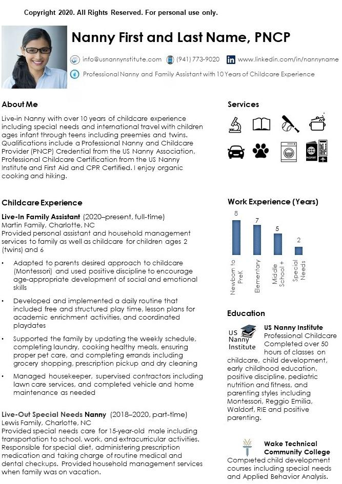 Nanny Resume page 1